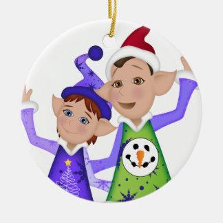 Ugly Christmas Sweater ELVES! Ceramic Ornament