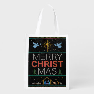 Ugly Christmas Sweater - Granny Knit - Christian Reusable Grocery Bag