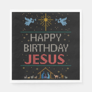 Ugly Christmas Sweater - Happy Birthday Jesus Red Disposable Napkin