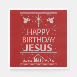Ugly Christmas Sweater Happy Birthday Jesus Red Disposable Napkins