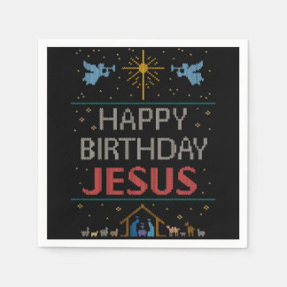 Ugly Christmas Sweater - Happy Birthday Jesus Red Paper Napkin