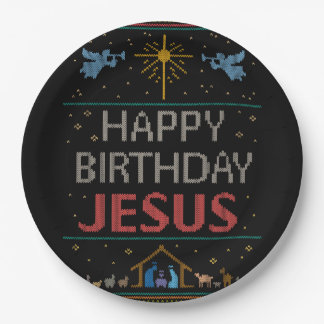 Ugly Christmas Sweater - Happy Birthday Jesus Red Paper Plate