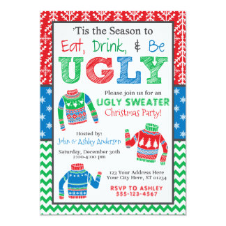 Ugly Christmas Sweater Invitation, Christmas Party Card
