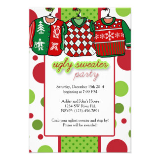 "Ugly Christmas Sweater Party 3.5"" X 5"" Invitation Card"