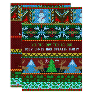 Ugly Christmas Sweater Party Fun Knitted Reindeer Card