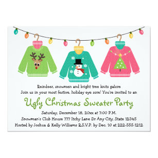 Ugly Christmas Sweater Party Invitations Announcements Zazzle CA