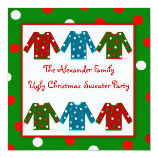 Ugly Christmas Sweater Party Red Green Polka Dots Card
