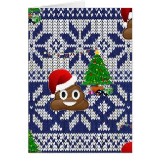 ugly Christmas sweater poop emoji Card