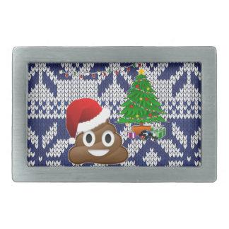 ugly Christmas sweater poop emoji Rectangular Belt Buckle