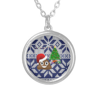 ugly Christmas sweater poop emoji Silver Plated Necklace