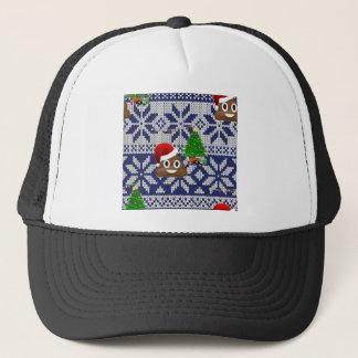 ugly Christmas sweater poop emoji Trucker Hat