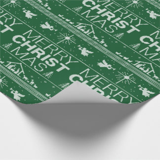 Ugly Christmas Sweater Religious Christian Green Wrapping Paper