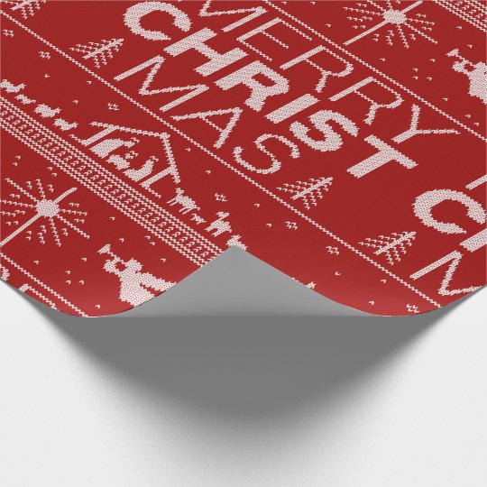 Ugly Christmas Sweater Religious Christian Red Wrapping Paper