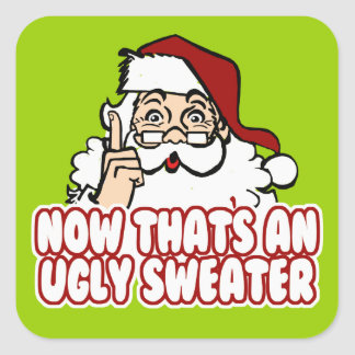 Ugly Christmas Sweater Santa Square Sticker