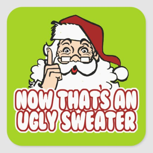 Ugly Christmas Sweater Santa Sticker