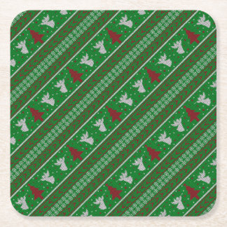Ugly Christmas Sweater Square Paper Coaster