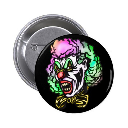 Ugly Evil Clown Pinback Buttons