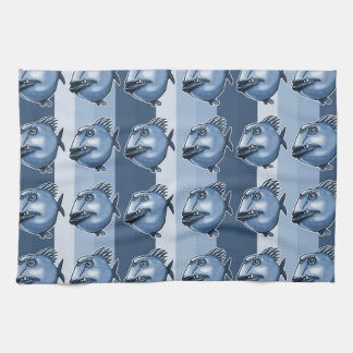 ugly fish cartoon style illustration towels