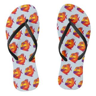 ugly fish cartoon tiled pattern flip flops