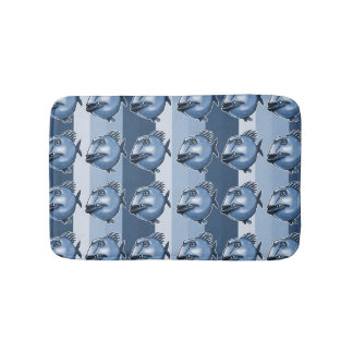 ugly fish striped background bath mat