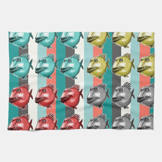 ugly fish striped background kitchen towel