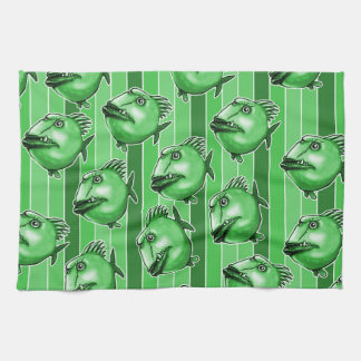 ugly fishes and cool stripes funny cartoon style towel