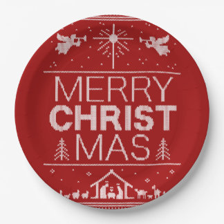 Ugly Merry Christmas Sweater  Religious Christ Red Paper Plate