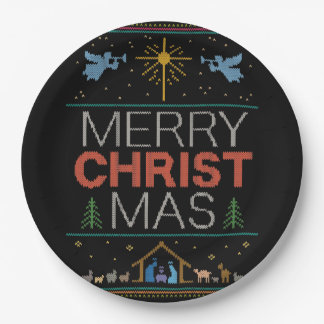 Ugly Merry Christmas Sweater Religious Colorful Paper Plate