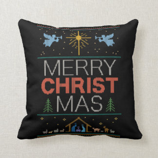 Ugly Merry Christmas Sweater Religious Colorful Throw Pillow