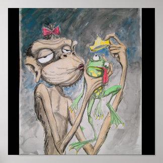 Ugly Monkey Ugly Frog Poster