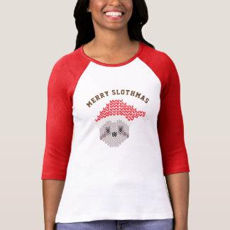 Ugly Santa Sloth Merry Slothmas Raglan 3/4 Sleeve T-Shirt
