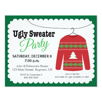 """Ugly Sweater Christmas Party 4.25"""" X 5.5"""" Invitation Card"""