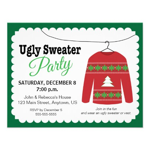 Ugly Sweater Christmas Party Invites