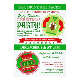 Ugly Sweater Christmas Party Personalized Invite