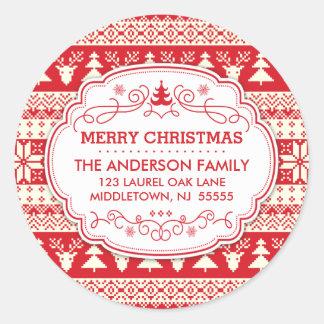 Ugly Sweater Christmas Return Address Label Seals Round Sticker