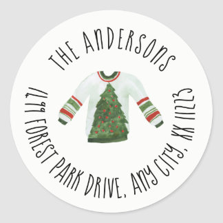 Ugly Sweater Christmas round return address Classic Round Sticker