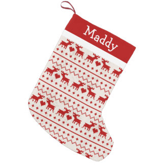 Ugly Sweater Deer Monogram Small Christmas Stocking