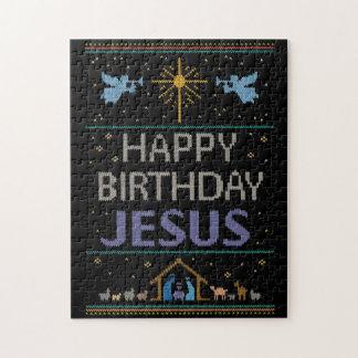 Ugly Sweater Design Happy Birthday Jesus Religious Jigsaw Puzzle