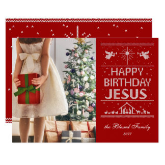 Ugly Sweater Happy Birthday Jesus Religious - Red Card