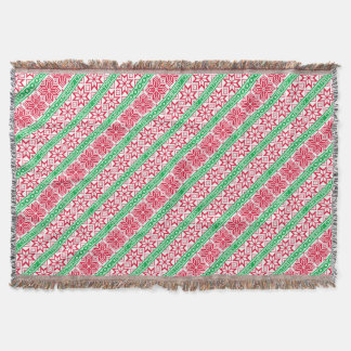 Ugly Sweater Merry Christmas Red Green Snowflake Throw Blanket