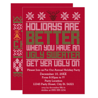 Ugly Sweater Party Holiday Invitations