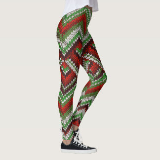 Ugly Sweater pattern Christmas leggings