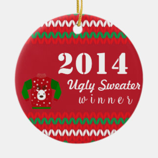 Ugly Sweater Winner Round Ceramic Ornament