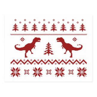 Ugly T-Rex Dinosaur Christmas Sweater Postcard