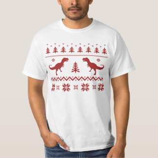 Ugly T-Rex Dinosaur Christmas Sweater Tee Shirts
