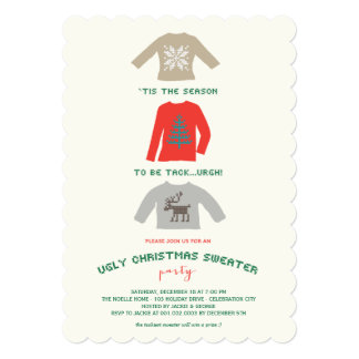 Ugly Tacky Christmas Sweater Holiday Party Invite