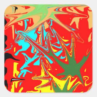 Ugly unusual colorful blot square sticker