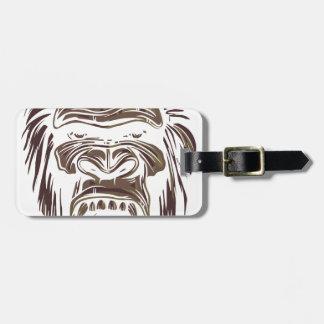 ugly vintage monkey luggage tag