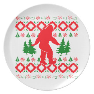 Ugly Xmas Bigfoot Dinner Plates