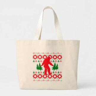 Ugly Xmas Bigfoot Large Tote Bag